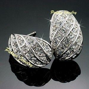Elegant Earrings WH Gold Use Swarovski Crystal E704