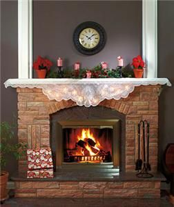 ELEGANT CHRISTMAS HOLIDAY LIGHTED LACE FIREPLACE MANTEL SCARF   VERY