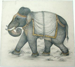 Miniature Charcoal Gold Color Elephant Paper Painting Decor Art