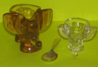 LOT of 2 Elephant Peach & Clear Glass Sugar Bowls, Condiment Dish