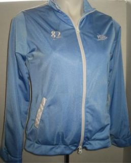 Sz L 14 Girls Nike Jacket Warm Up Light Blue White Stripe Mesh Lining