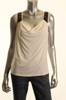Ellen Tracy New Ivory Embellished Sleeveless Cowl Neck Pullover Top