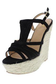 Stuart Black Strappy Wedge Sandals Espadrilles Shoes 8 BHFO