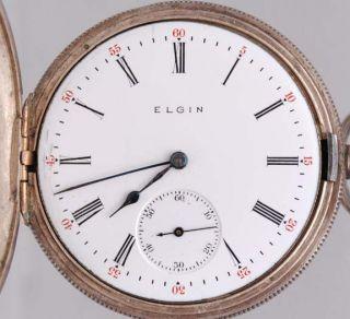 1910 ELGIN Size 16 16s Pocket Watch W/ STERLING SILVER CASE Running 7