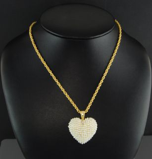 Esposito 24 14kt Yellow Gold EP Rope w White Faux Pearl Heart