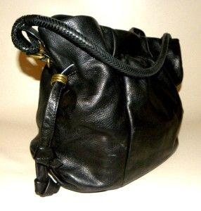 Elliott Lucca Black Soft Leather Shoulder Handbag Purse