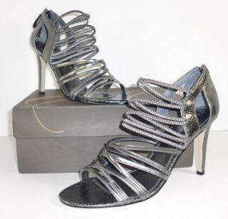 Enzo Angiolini Mochacita 10 M Pewter Leather Strappy Sandals Heels