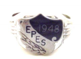 1948 class ring EPES sterling silver black onyx