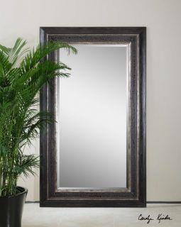 Estelline Large Black Wood Beveled Wall Floor Mirror