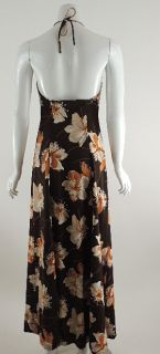 Vintage Estevez Sexy Brown Floral Print Jersey Halter Maxi Dress 6 70