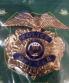 Police Officer Hat Badge New Old Stock Obsolete Gold