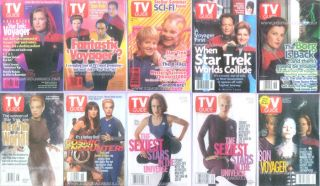 These TEN Star Trek Voyager T.V. GUIDES All Have Star Trek COVERS and