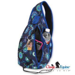 Classic Equine Sling Pack Tote Bag Carrier Blue Medallion Horse Tack