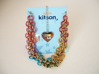 Kitson La Gold Silver Heart Rainbow Chains Necklace