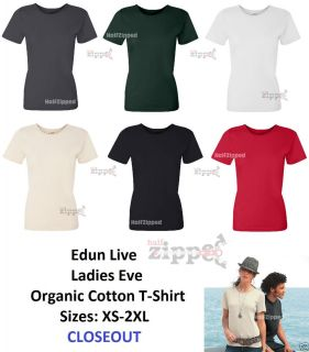 EDUN Live Ladies Eve Organic Cotton T Shirt W7002 XS 2XL CLOSEOUT