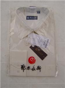 Inner Mongolia Erdos Mens Cashmere Dress L Button Pocket Shirt Beige