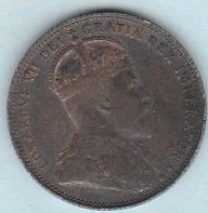 1910 Canada 25 Cents Sterling Silver Quarter King Edward VII F+