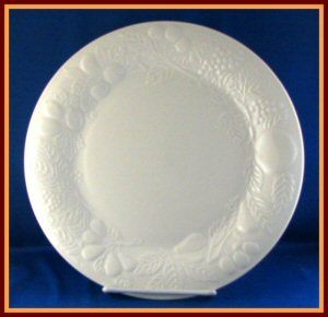 Gibson Off White Dinner Plate Embossed Fruit Design