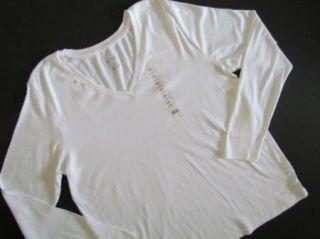 Ellen Tracy Active Wear White Long Sleeve V Neck Cotton T Shirt Top