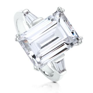 Sterling Silver 925 Emerald Cut CZ Solitaire Ring Sz 7