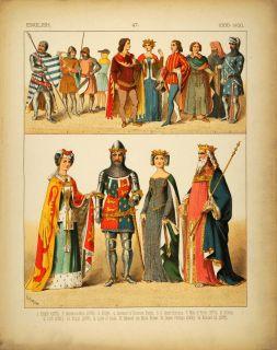 1882 Costume English Medieval Knight Black Prince King   ORIGINAL