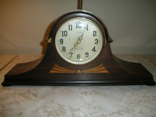 Antique New Haven Elm City Electric Strike Chime Mantle Clock Works