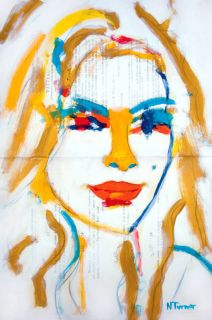 Eva Mendes Portrait Original French Art Expressionist Painting by N