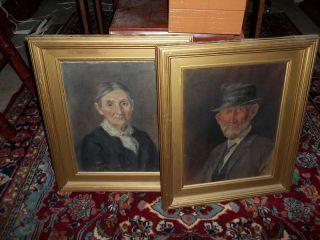 Original Artist Elmer Joseph Read E J EJ Read Oil Painting Pair 1904