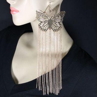 Evelyns Butterfly Fringe Fashion Earrings DE8510 E1286 in 4 Colors