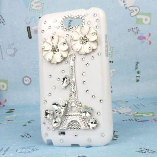 Eiffel Tower Flower Bling Diamond Hard Case Cover for Samsung N7100