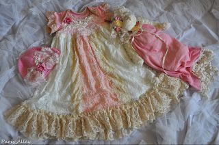 Rose Bud French Lace Christening Dress Teddy Bear Hat 4 Reborn Baby