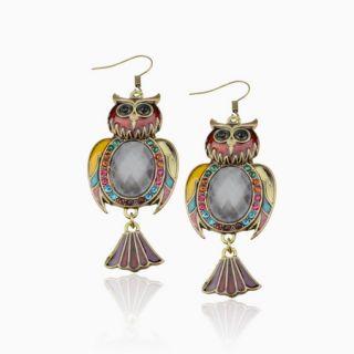 Amazing CZ Gem Enamel Owl Retro Copper Vtg SW Crystal Dangle Earrings