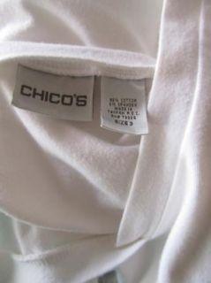 Sz XL Chicos 3 Shirt Cotton Stretch Knit Top White V Neck Beige