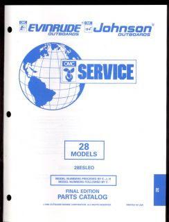 1995 OMC Evinrude Johnson Parts Manual 28 HP
