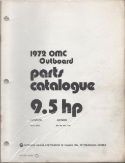 1972 OMC Evinrude Johnson Outboard 9 5 HP Parts Manual