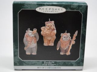 NEW 1998 Star Wars EWOKS SET OF 3 Hallmark Keepsake Ornament