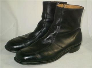 Vtg Ankle Zip Dress Boots Black Leather USA 11 5 EE