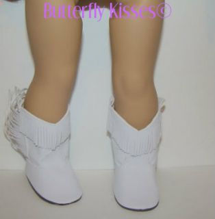 Doll Clothes Fit American Girl White Fringed Cowgirl Cowboy Boots