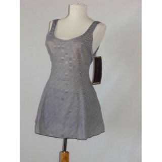 Esther Williams 1 PC Swimsuit USA Made Checkerboard Dress Swimwear $79