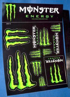 Monster Energy® Sticker Sheet Skateboard Bike Car ATV Racing USA