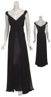 Melinda Eng Timeless Black Silk Pleated Off Shoulder Evening Gown