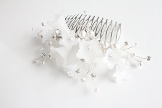 Flower Hair Comb with Swarovski Crystals Handmade Hair Jewelry