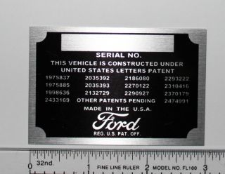 Ford Serial Number Data Plate Engine Identification Tag Patent Plate