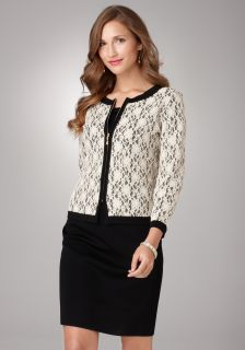 Exclusively MISOOK Black and Ivory Lace Jacket Petite