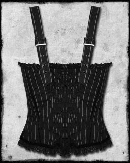 Spin Doctor Emmy Black White Pinstripe Steampunk Gothic Corset Bustier