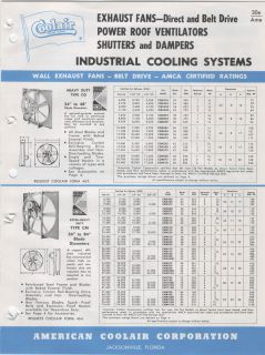 American Cooler Fans Industrial Catalog Roof Vent 1962