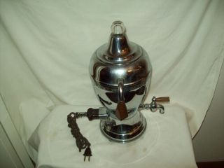 Antique Electric Percolator Urn style Coffee Maker Continental Silver