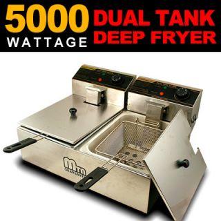 Commercial Double Tank Countertop Restaurant Electric Deep Fryer 5000W