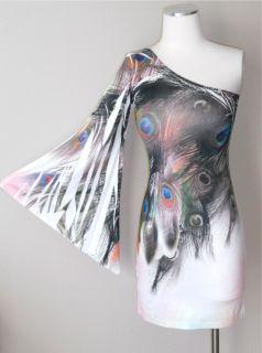 Peacock Feather Exotic Print One Shoulder Wide Kimono Sleeve Mini