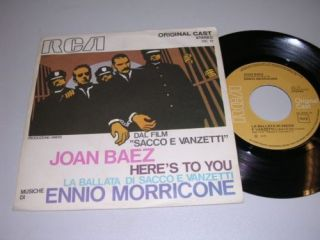 Sacco E Vanzetti Ennio Morricone Joan Baez OST 45 PS Italy 1971 EX EX